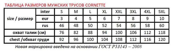 Размерная сетка мужского нижнего белья Cornette
