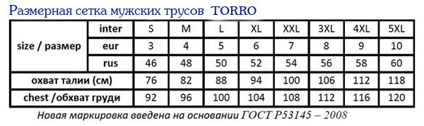 Размеры мужского белья ТОРРО