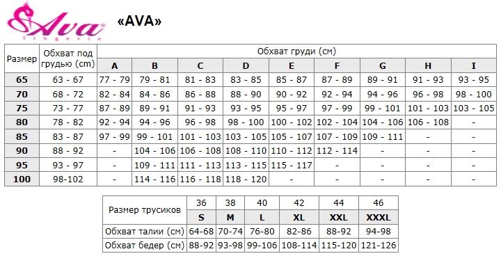 Размерная сетка AVA Польша